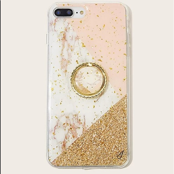 Marble and Gold Pattern iPhone Case with Ring